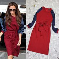 Promotion! Free Shipping 2014 Fashion Autumn Winter Women Dress Victoria Beckham , Red Blue Knee Length Dress Long Sleeve