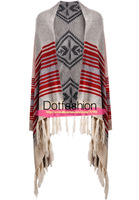 New 2014 Spring/Fall Fashion Women's Casual Aztec Oversized Grey Long Sleeve Red Striped Tassel Cardigan Sweater
