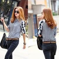 2014 New Arrive Autumn Women's Asymmetrical Patchwork Long-Sleeve Plaid Shirt Turn-Down Collar Casual Work Wear Blouses