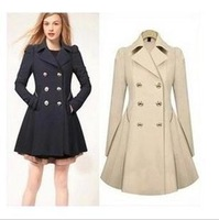 The Autumn And Winter New Women's Long Warm European And American Stylish Long Elegant Slim Solid Simple  Ladies Trench Coats