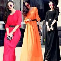 High Quality Aautumn Women's Ultra Long Dress Brief Vintage Chiffon Long Dress Plus Size Slim Elegant Long Dress+Sashes 3 Colors