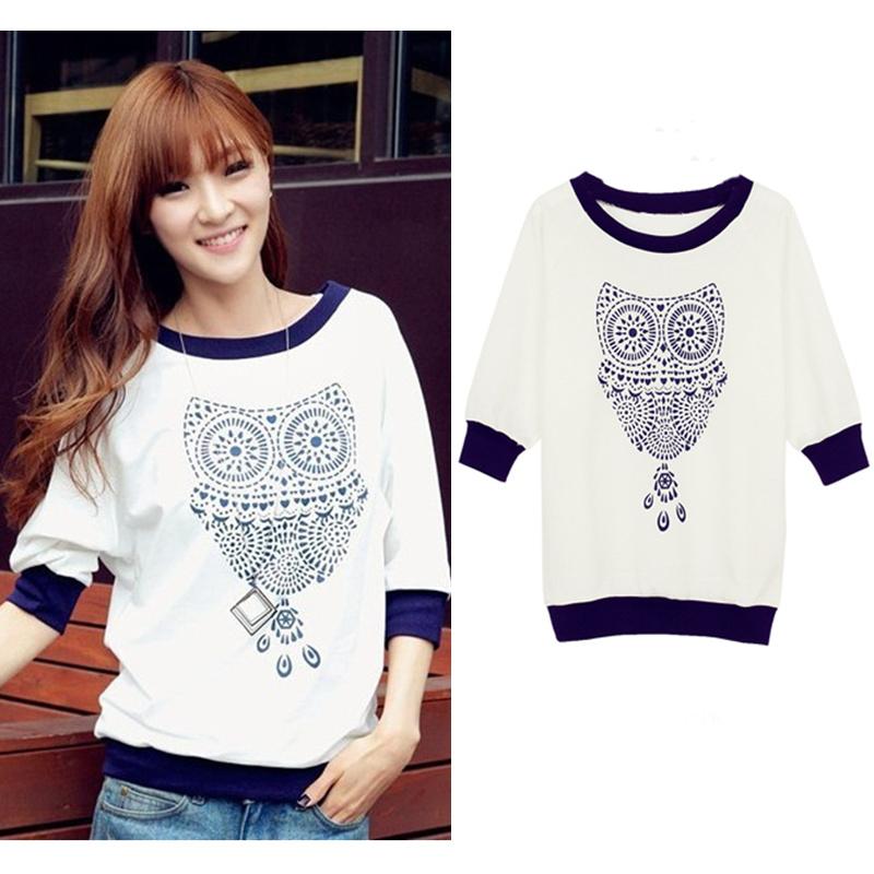 2015 Spring New Women Clothing Cute Owl Animal Print Batwing Sweatshirt T shirt Beading Hoodies Tracksuits Hoody Top Quality(China (Mainland))