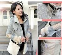 new 2014 down jacket Women's woolen overcoat female outerwear slim trench patchwork woolen jacket female Wool & Blends