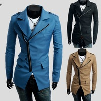 2014 New Hot Korean Style Fall And Winter Three Pockets Diagonal Zipper Long Sleeve Lapel Men's Windcheater Coat XMNZ025