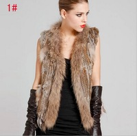 New 2014 Autumn & Winter Warm Women Rabbit Fur Vest Short Coat Fashion Star Nutural Rabbit Fur Knitted Vest Coat ,S-XXL