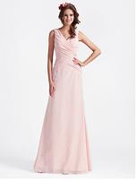 Customised A-line V-neck Floor-length Chiffon Bridesmaid Dress With Criss-Cross Bodice /Tarik Ediz WD004