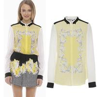 [B-1555]  Free shipping 2014 new ladies patchwork blouse mosaic flower shirt
