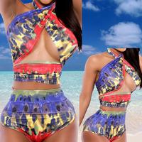 2014 New Women Swimsuit,Sexy Swimwear High Waist Bikini Bandage Push Up Beachwear Monokini Bathing Suit,Bikinis Set S,M,L