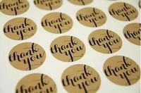 600pcs thank you sticker 38*38mm envelope seal stickers Circle kraft food label stickers printing sticker paper
