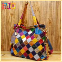 K460 Colorful New Women's Genuine Leather Shoulder Tote Messenger Bags Cowhide Plaid Patchwork Handbag