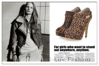 2014 New Sexy High heels Leopard Boots High Platform Shoes, Fashion Party Boots Luxury Pumps Women 18-7