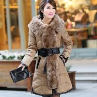 2014 coat women down coat the real rabbit fur collar down jacket women's super luxury jaqueta feminina parka womens
