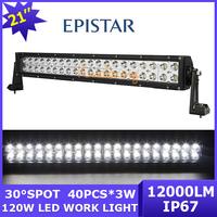 12V/24V Epistar led Work Light bar 40x3W Camper 4x4 Pickup Spot/Flood Beam 120W ATV UTV 4WD car LED off-road Lamp 7200lm AWD SUV