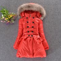 child down coat girls coat  female child 2014 winter female big children's clothing medium-long down jacket