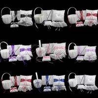 5Pcs/set  8 Colors Satin Wedding Decorations Ring Pillow + Flower Basket + Guest Book + Pen Set + Garter Bridal Wholesales