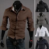 Free shipping 2014 hot sale new fashion men casual slim shirt, long-sleeve pure color men shirt, plus size M~XXL, wholesale