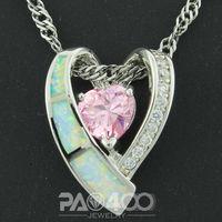 Pink Topaz White Fire Opal Silver Fashion Jewelry Women & Men Pendant OP761BC  Wholesale & Retail