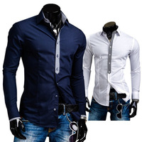 Fashion Hot new men's casual trade access modification plaid tie long-sleeved shirt male