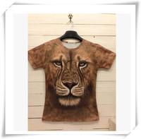 2015 New Design  3D Men T-Shirts Men T-Shirts Cute Lion  Print Round Collar Short-Sleeved  Loose Cotton  Men Funny Tops