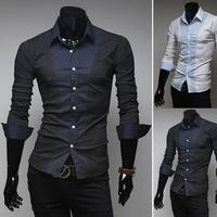 Free shipping 2014 hot sale new men's long-sleeve unique dot decoration splicing shirt, fashion men casual slim shirt, wholesale