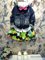 (5 pcs/lot) wholesale 2014 new autumn and winter children's clothing wholesale girl hole washed denim jacket