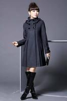 2014 New winter coat women Double Breasted Slim Fit  woollen coat solid color trench overcoat casual women coat