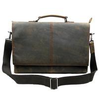 2014 fashion Crazy Horse leather Men Briefcase laptop bag handbag 265 removable shoulder strap