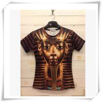 2014 New Design  3D Men T-Shirts Men T-Shirts Egypt  Head Print Round Collar Short-Sleeved  Loose Cotton  Men Funny T-Shirts