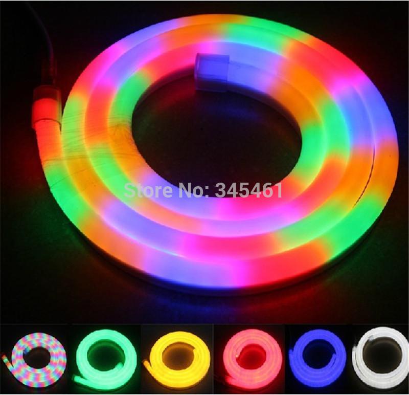 100Meter/roll Energy Saving Led Flexible Tube Neon Light 80 Led Beads/M Multi color Rainbow tube High quality led flexible rope(China (Mainland))
