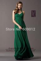AEL3768 New Arrival A-Line Halter Emerald Green Long Chiffon Zipper Evening Dresses Custom Size Custom Color