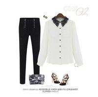 [B-1555]  Free shipping 2014 New women ol blouse Simple lace collar shirt women commuter white shirt