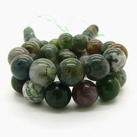 Natural Stone Beads Green Round Semi precious Jade Agate Gem Stones Jewelry Tourmaline Cabochon Spacer Quartz Bead HB558