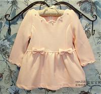 (5pcs/lot)wholesale 2014 autumn and winter 100%cotton children girls bow pearl  children long princess dress 2 colors
