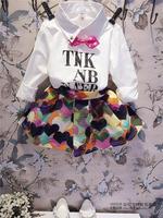 (5 pcs/lot)wholesale children's clothing wholesale girl fresh letters F-3802 shirt