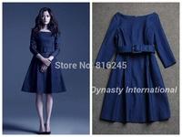 2014 Autumn Slash Neck Denim Dress With Belt dark blue skater dress
