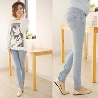 Korean Fashion Women's Light Blue Elastic Waist Jeans Pregnant Women Denim Pants Belly Support Trousers Plus Size Free Shipping