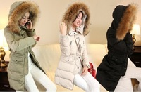 2014 Winter Women Down & Parka Jacket Coat Long Slim With Large Fur Hood White Duck Down Coat Plus Size S-XXL Outwear Jacket .