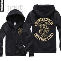 Free shipping Sweatshirt sons of anarchy hoodies samcro plus velvet thickening zipper sweatshirt male Women