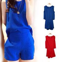 Womens Red/Blue Solid Color Back Zipper Design Jumpersuit Romper Casual Leisure Suit   77978-77979