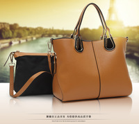 Women Genuine Leather Simple Fashion Handbag with Small Purse Free Shipping f808