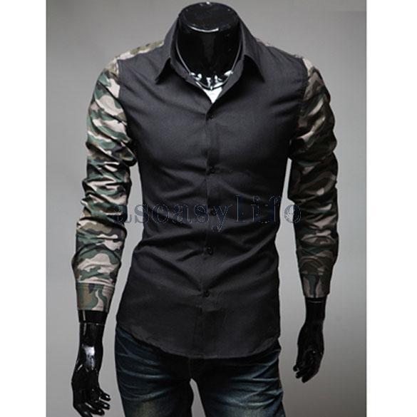Бесплатная доставка человек встроенная тонкий рубашка сращивание камо с длинным рукавом хлопок черный M ASAF