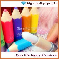 Free Shipping 5pcs/lot 2014 New Arrivel Colorless 6 kinds of Fruit Pencil Makeup Moisturizing Lip Gloss Lip Balm Tube Lipsticks
