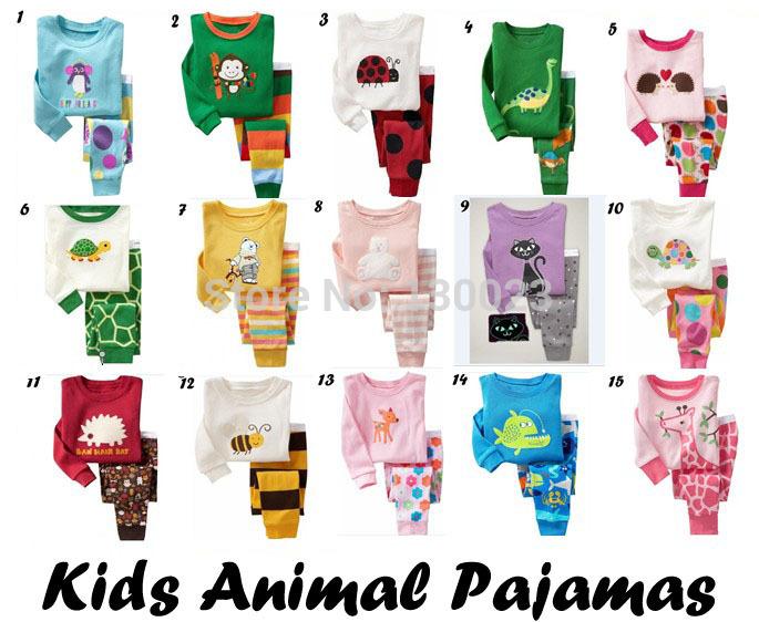 Kids Baby Pajamas sets Many Animal Design tortoise fish bee bear deer monkey cat dinosaur Pijamas Sets for boys girls pyjamas(China (Mainland))