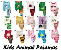 Kids Baby Pajamas sets Many Animal Design tortoise fish bee bear deer monkey cat dinosaur Pijamas Sets for boys girls pyjamas