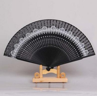 cutout bamboo handmade folding fan silk int hand fan