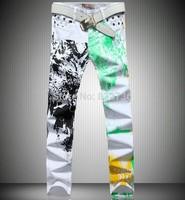 New  2014 Fashion Men Long Print Jeans Mens Skinny Jeans Fashionable tight Pants Denim Trousers Men's jeans