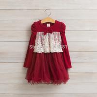 Kids autumn lace bow tutu dress , dress party girl , kids clothes girls, 5pcs/lot   LXJ33