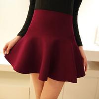 2014 New Women Skirts Fashion High Waisted Design Casual Cute Good Quality Pleated Mini Femininas Saias Autumn Winter 9073