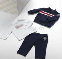 2014 new brand autumn winter children clothing boys coat jacket outerwear clothes set 3pcs/set jacket++t-shirt+pants tracksuit