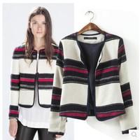2015 New Arrial Woman Fashion Stripe Print Round Collar Blazer Jacket  Ladies Blazers Coat Size SML
